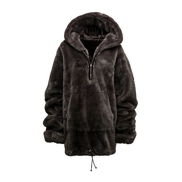 HALF-ZIP PULLOVER FAUX FUR HOODIE ($1,800) ❤ liked on Polyvore featuring tops, hoodies, hooded zipper sweatshirts, pullover hoodies, hoodie pullover, sweatshirt hoodies and zip pullover