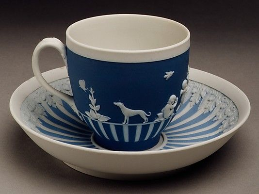 18th century British Cup and saucer at the Metropolitan Museum of Art, New York - The deep matte colours and the use of Classical relief are typical elements of Wedgwood's style.: