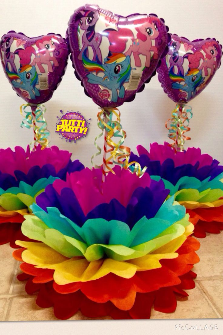 Pompom centerpieces, rainbow centerpieces, muy little pony Party decorations, centros de mesa arcoiris, @tuttiparty