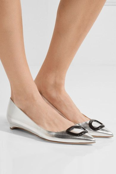 Rupert Sanderson - Auric Metallic Leather Point-toe Flats - Silver - IT39.5