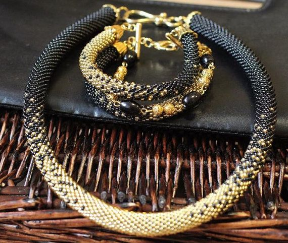 Black and gold beaded necklace beaded Tow Bead Crochet by VIPbead