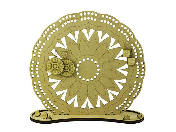 Flower Mandala holder - jewelry organizer - engraved wood - lasercut - jewelry holder - wooden mandala art - wood earring holder