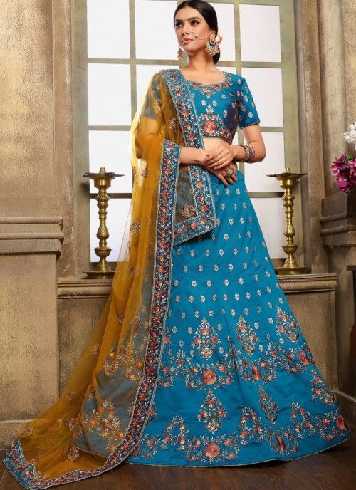 53229a4265 Redefined blue partywear lehenga choli online for women which is crafted  from satin fabric with exclusive embroidery and stone work. Shop this  trendy ...
