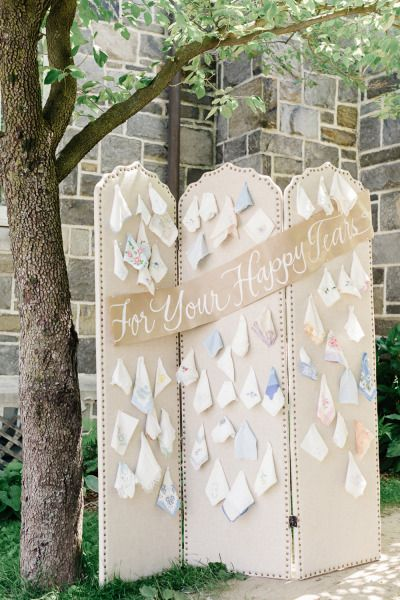 Handkerchief wall: http://www.stylemepretty.com/2014/11/11/classic-washington-dc-military-wedding/   Photography: Jana Williams - http://www.jana-williams.com/