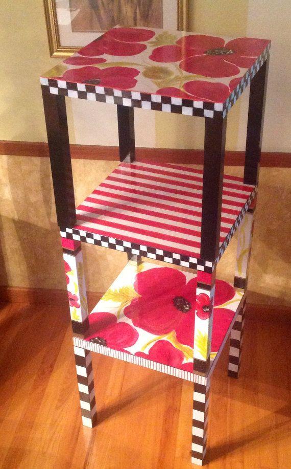 Custom Painted parsons Table por paintingbymichele en Etsy