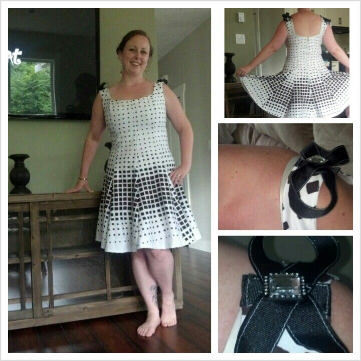 This is my personal vegas challange (3 dresses in 4 weeks before vegas)! First dress: 'dazzle dots' stretch cotton deep brown and white princess seams with goblets! And I added some bling bows on the shoulders :) #twefthletterapparel