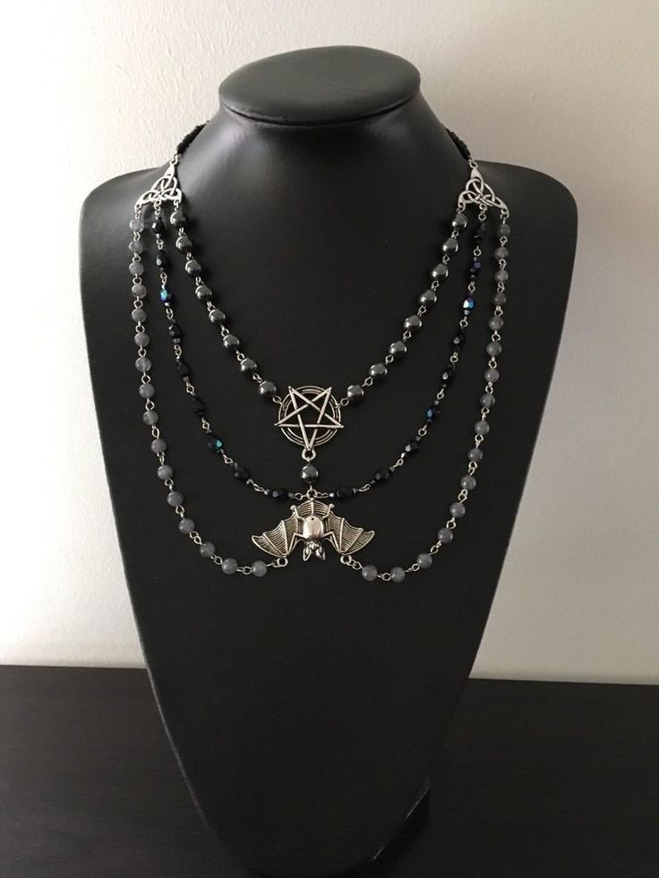 Bat with Inverted Pentacle Beaded Bib Necklace - Gothic/Witch/Wicca/Dark Energy #MadeByFlick #Pendant