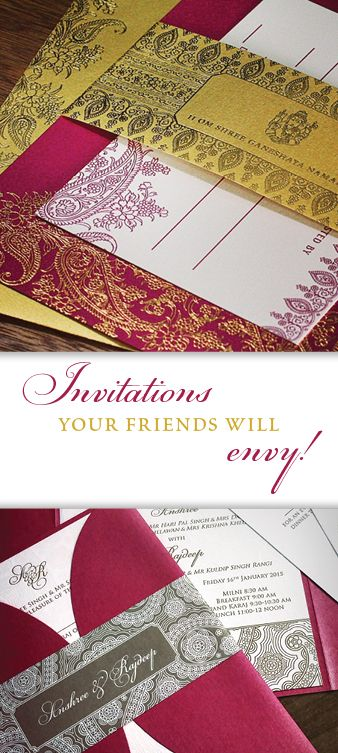 Custom Indian Wedding Invitations | Bilingual And Multicultural Wedding Cards | Ornate And Colorful South Asian Wedding Invitation Cards | Letterpress, Digital And Foil Stamped Invitations. | Invitations by Ajalon