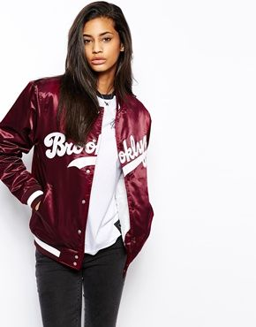 Majestic+Brooklyn+Dodgers+Satin+Baseball+Bomber+Jacket