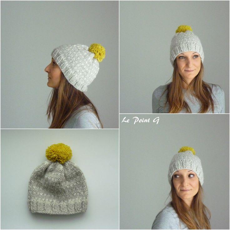 Bonnet tricoté à motifs et son pompon pour adulte alpaga et laine : Chapeau, bonnet par lepointg