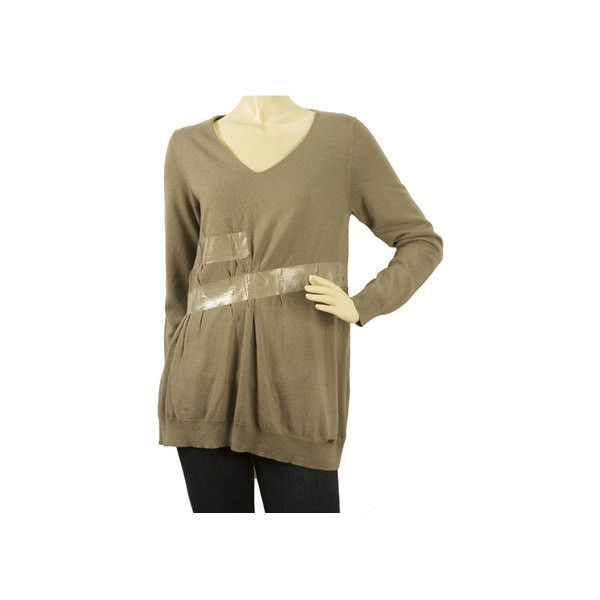 Atos Lombardini Taupe Oversized Wool Knit Top Long Sleeve Sweater wιth... via Polyvore featuring tops, sweaters, v neck sweater, oversize sweater, brown sweater, long oversized sweaters and taupe sweater