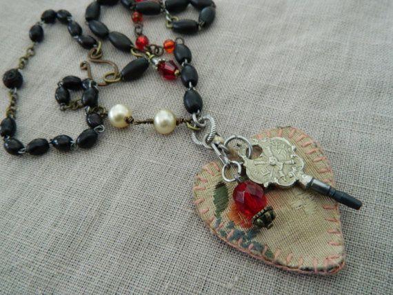 Vintage Assemblage Necklace Heart Agnus Dei Watch Key by 58Diamond