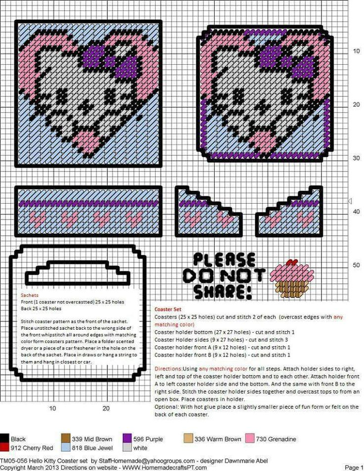 1000+ images about Hello Kitty Plastic Canvas on Pinterest ...