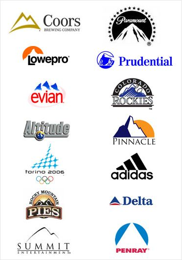 Different logos with mountains