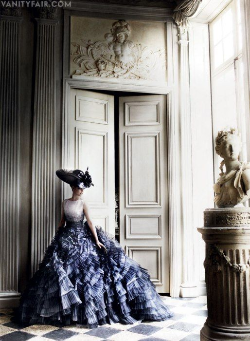 The dress and hat are just DIVINE! [Dress by Christian Dior Haute Couture and hat by Philip Treacy] | Photos: Kristen Stewart Models Parisian Couture in Vanity Fair | Hollywood | Vanity Fair