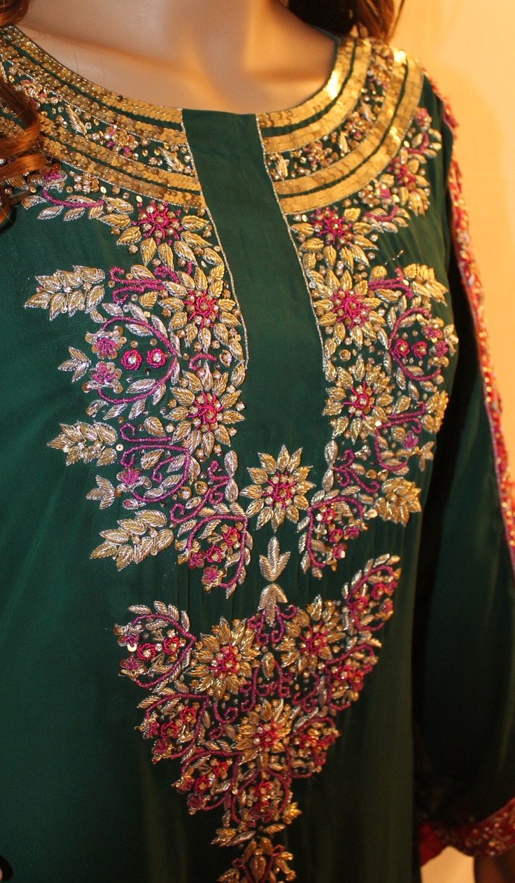 Embroidery Combination- Sequins, Beads & Kora Embroidery. Gorgeous!
