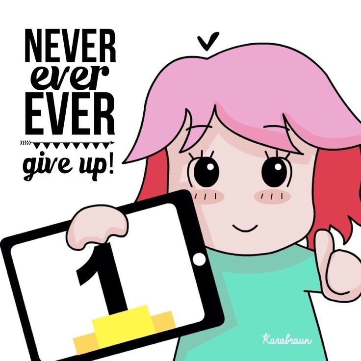 Never ever ever give up!   #inspiration #karabraun #linesticker #line #quotes #morning #cartoon #vector #anime #kawaii #dailyart #characterdesign #illustrator #sketches #jakarta