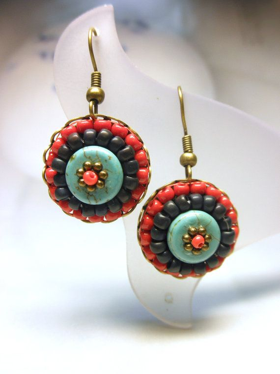 RED and TURQUOISE  --  Glass Seed Beads Tiny Antique Bronze French Hook Dangle Earrings