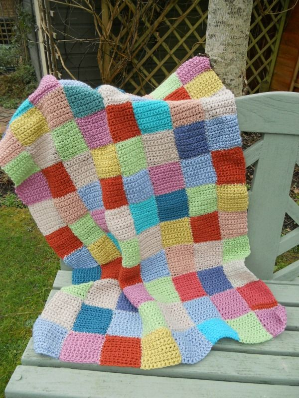 A NEW HAND-MADE CROCHET BLANKET WITH MULTI COLOURED SQUARES ~ SOLD ON MY EBAY SITE LUBBYDOT1