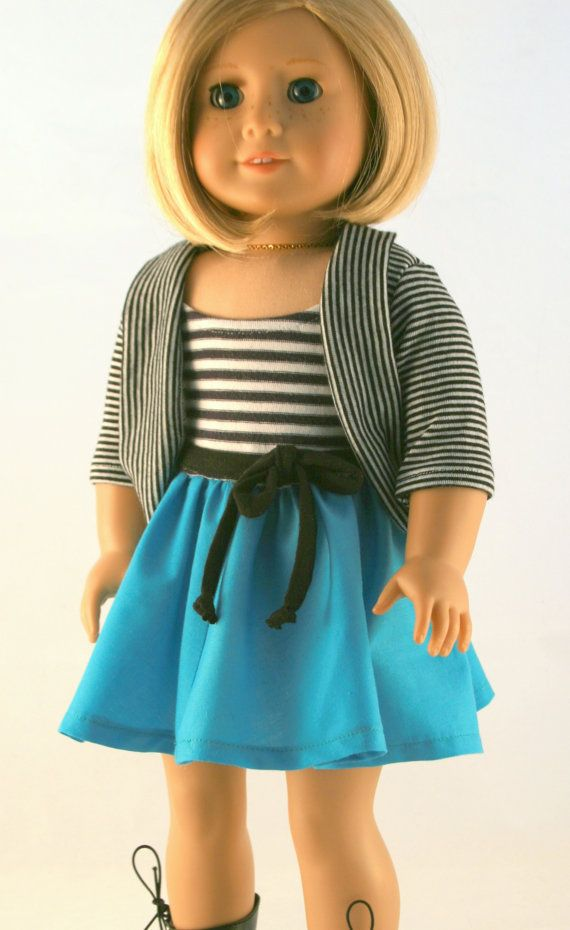 american girl doll clothes original striped dress and striped cardigan the outfit american. Black Bedroom Furniture Sets. Home Design Ideas
