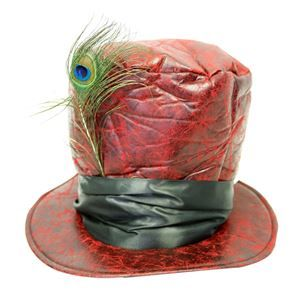 Distressed Red Faux Leather Top Hat - 393934 | trendyhalloween.com