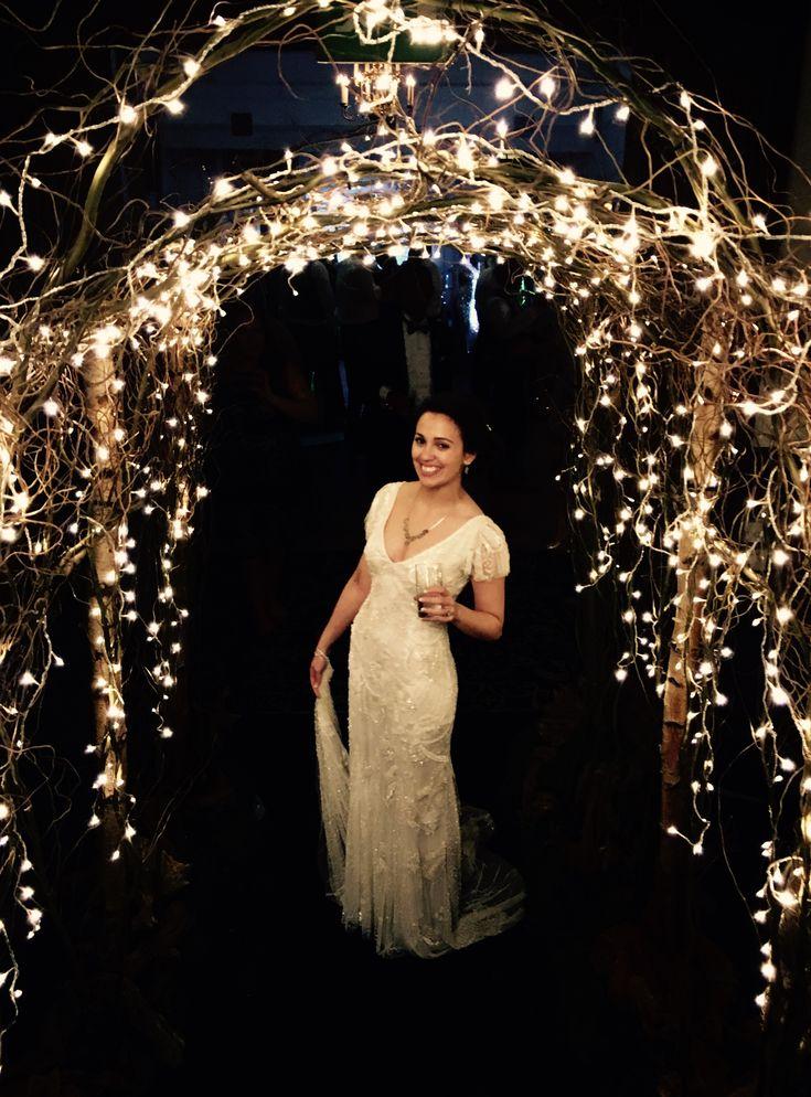 winter-wedding arch fairy lights Christmas-wedding