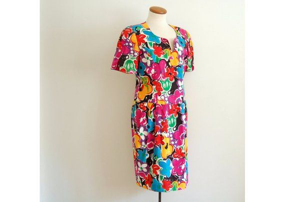 floral mini dress - vintage 80s bright bold pink flower print bodycon linen sheath tight wiggle fit 15