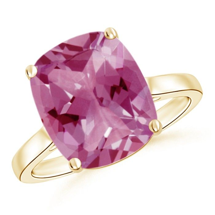 Cushion Cut Pink Tourmaline Solitaire Engagement Ring