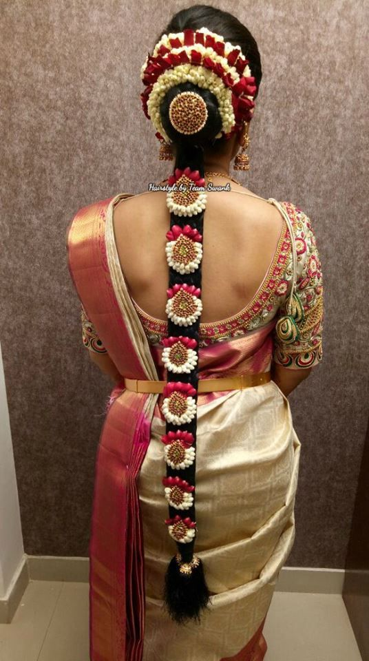 Pretty And Simple Bridal Hairstyle By Team Swank Bridal Braids Hairstyle South Indian B Simple Bridal Hairstyle Indian Bridal Makeup Indian Bridal Hairstyles