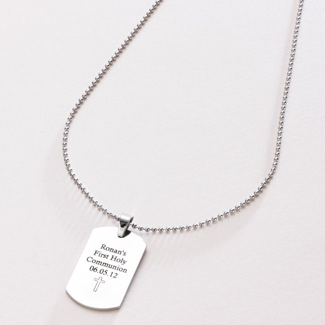Boys First Communion Necklace - Personalised Dog Tag - Popular Gift - Boys Commemorative First Communion Necklace -Religious Holy Communion Gifts for Boy or Girl
