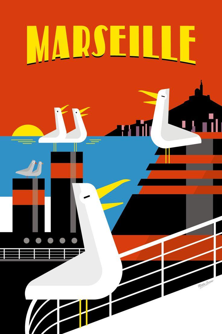 Vintage Poster - Foire Internationale de Marseille - Les gabians de Marseille.