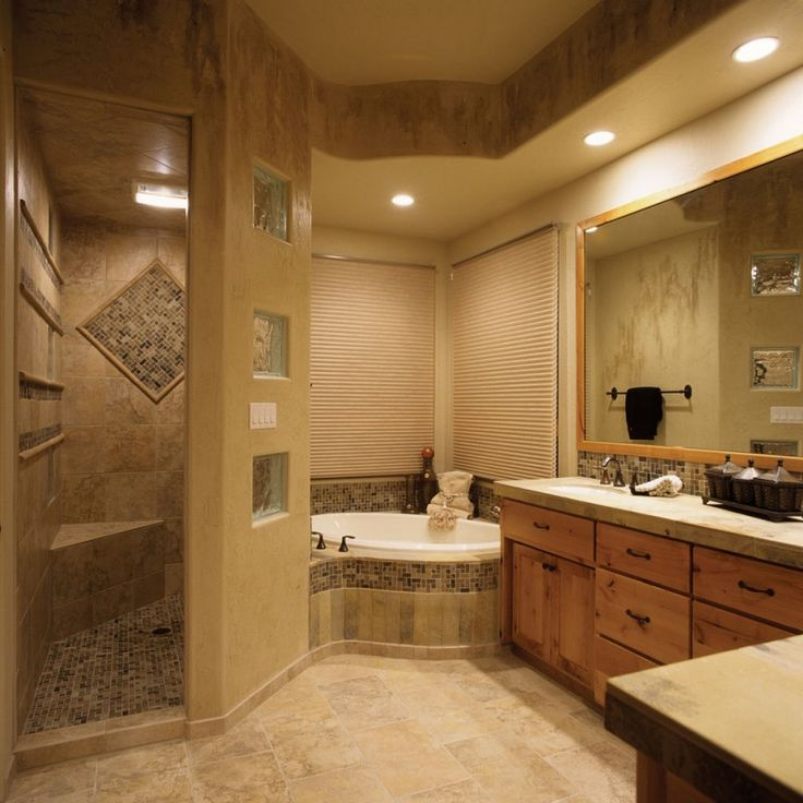 mediterranean bathroom with walk in shower room without door with mosaic tile flooring, brown tiles on all wall surface of Walk in Shower without Door for More Air and Light