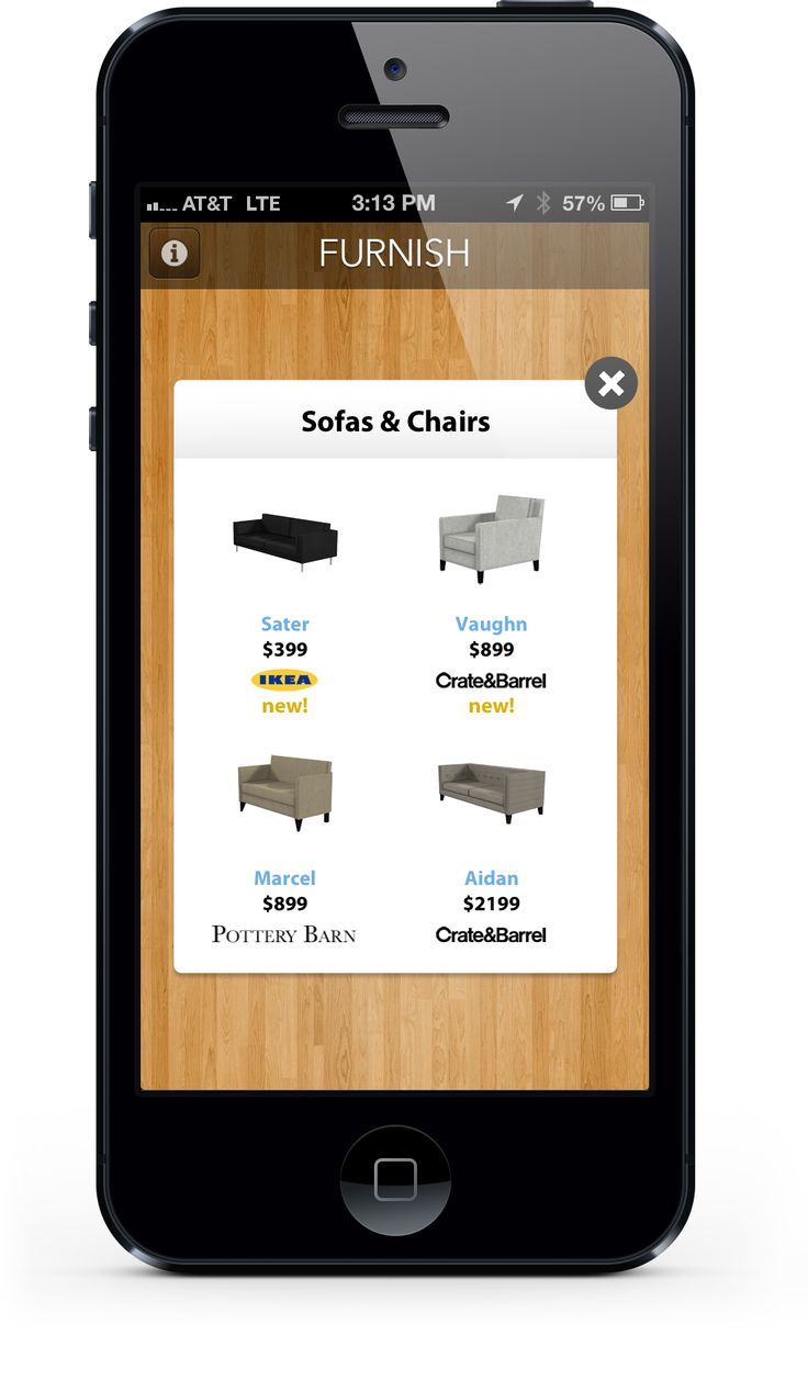 Furnish - augmented reality app for mobile devices.  Uses the catalogs from: Ikea Crate & Barrel Pottery Barn Herman Miller