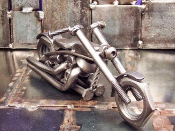 Motorcycle made of scrap metal parts