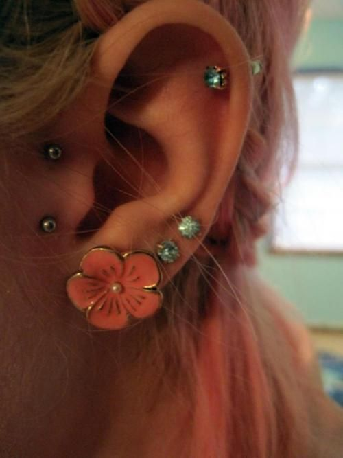 Ohhh: Earpierc, Vertical Tragus, Double Tragus, Tattoo Piercing, Piercings, Flowers Earrings, Tattoos Piercing, Ears Piercing, Tragus Piercing