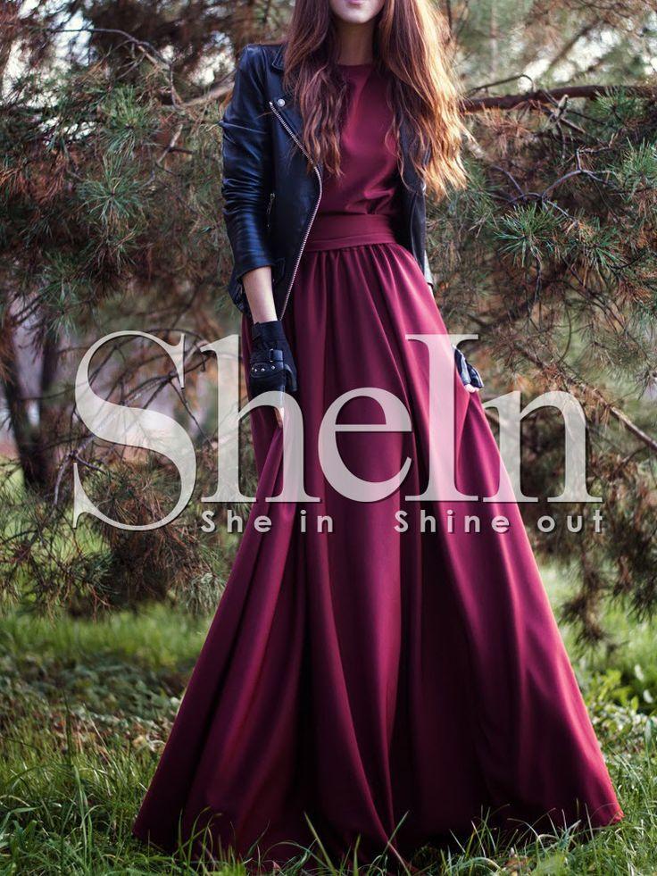Shop Burgundy Round Neck Maxi Dress online. SheIn offers Burgundy Round Neck Maxi Dress & more to fit your fashionable needs.