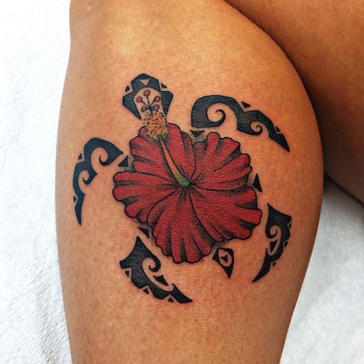 Hawaiian hibiscus flower tattoo design