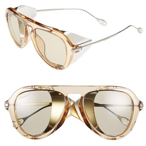 Women's Gucci 51mm Aviator Sunglasses ($375) ❤ liked on Polyvore featuring accessories, eyewear, sunglasses, futuristic sunglasses, retro sunglasses, gucci glasses, retro glasses and aviator sunglasses