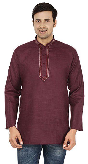 e5385123 Embroidered Cotton Dress Mens Short Kurta Shirt India Fashion Clothes  (Maroon, S)