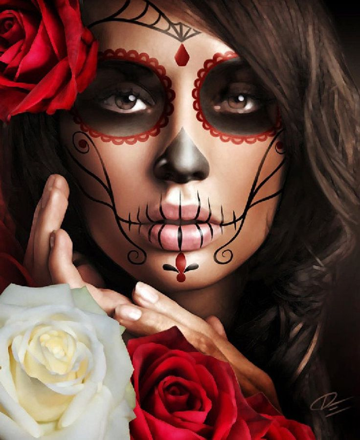 raquel by daniel esparza mexican day of the dead canvas fine art print - Halloween Day Of The Dead Face Paint