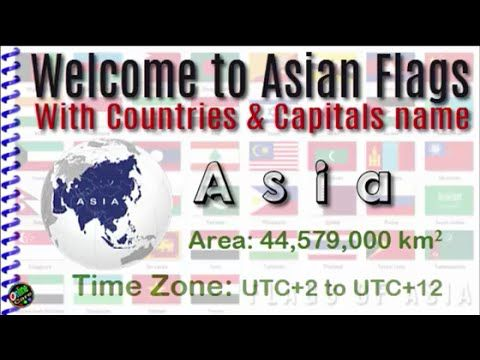 Asian flags with countries and capitals