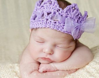 Crochet Crown, Newborn baby Crown, Princess Royalty Tiara Crown with ribbon pearl accents photography prop
