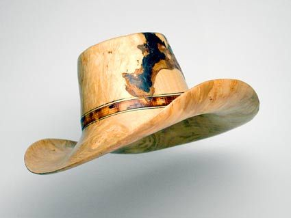 Chris Ramsey - Big Leaf Maple Burl with Bark Inclusion - this hat is carved from one piece of wood and is actually comfortable to be worn