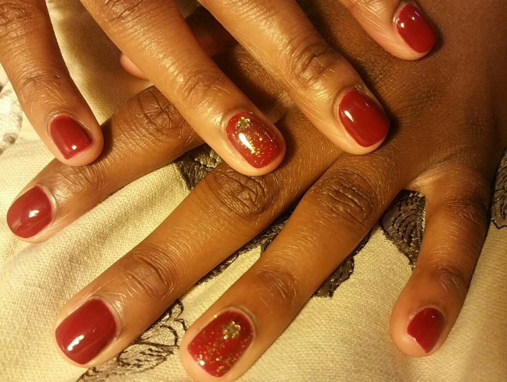 Red shellac with golden flower detail