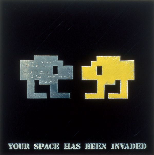 "John Fekner & Don Leicht ""YOUR SPACE HAS BEEN INVADED"" made in 1982. Used five stencils to create."