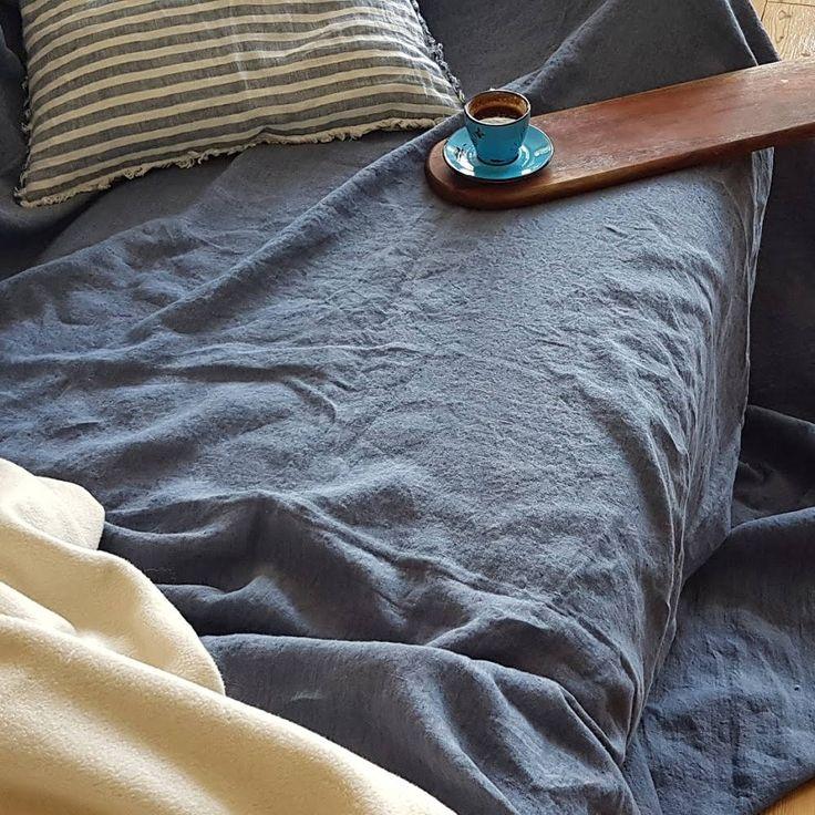 Heavier linen flat sheet from blue grey melange, stonewashed linen sheets, heavy rustic linen bedding, Queen King flat soft linen sheets by DejavuLinen on Etsy