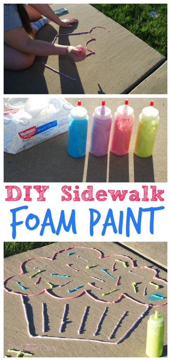 Kids will love this activity! Make DIY Sidewalk Foam Paint, perfect summer boredom buster for the kids!