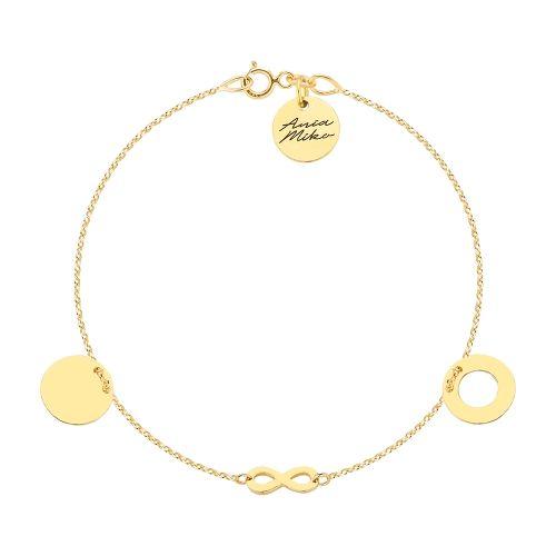 Piękna złota bransoletka z okrągłymi zawieszkami i nieskończonością.  Doskonała na prezent.  Całość złoto 14K próba 585.  Rozmiar 18 cm