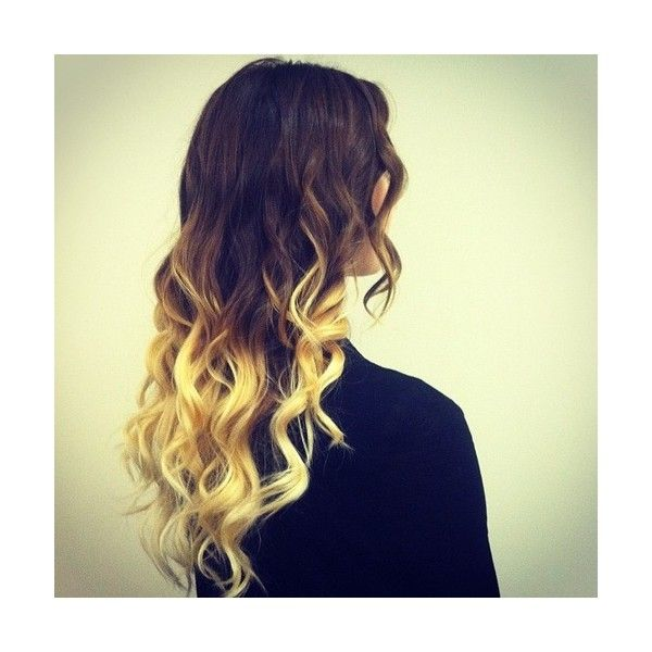 Brown Hair Blonde Dip Dye Hair Colors Ideas ❤ liked on Polyvore