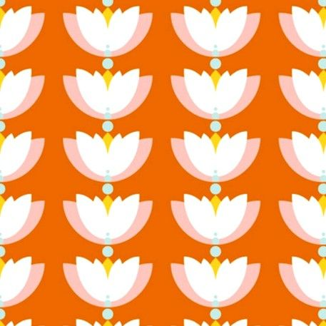 Eco-Friendly Organic Cotton - Lotus Drop Orange Design Print Perfect For My Next DIY Project